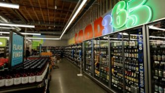 The beer and wine aisle of a 365 by Whole Foods Market grocery store is pictured ahead of its opening day in Los Angeles. New Zealand sauvignon blanc has found a ready market in the US.