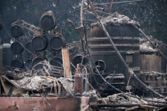 Paradise Ridge Winery sits destroyed in the foothills above Santa Rosa, California