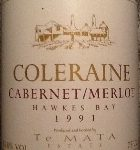 1991 Te Mata Estate Coleraine